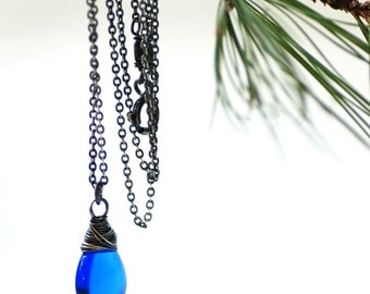 Blue Glass Necklace, Sterling Silver, Something Blue, Blue Wedding, Rustic Necklace, Royal Blue Necklace, Pendant Necklace, Blue Pendant
