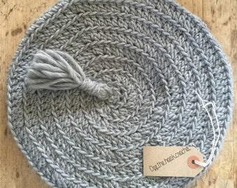 Grey Crocheted Beret