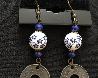 Palestinian coin handmade earrings.