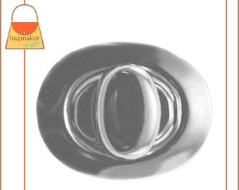 "Oval Turn Lock / Twist Lock, Nickel Finish, Handbag Purse Bag Making Hardware Supplies, 1-1/8"" x 7/8"", CSP-AA002"