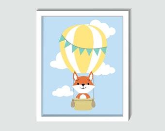 Woodland Nursery Art, Printable Woodland Wall Art, Printable Woodland Fox, Printable Forest Animals, Printable Baby Art, Hot Air Balloon Art