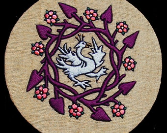 Medieval Bird hand embroidered ornament home decor completed embroidery gift for home crewel embroidery hand embroidery wall art