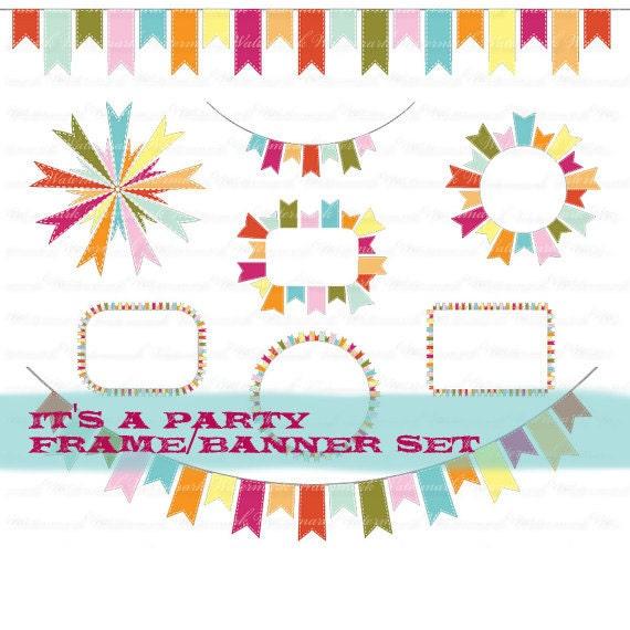 Birthday clip art frame party clip art ribbon clipart birthday