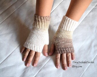 Mismatched cream wrist warmers, knit fingerless gloves, office gloves, thin mittens, snug driving gloves, bicycle gloves