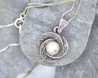 Sterling Silver and Pearl and Marcasite Necklace