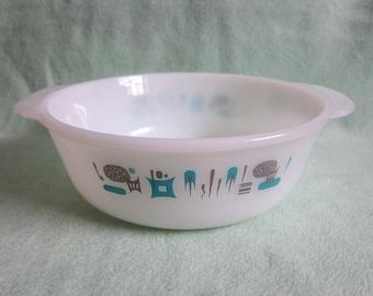 "blue heaven royal china mid century casserole dish, 9 1/2"""