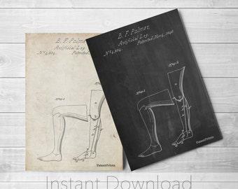 Artificial Leg Printables, Prosthetic Leg Printable, Medical Printables, PP0706