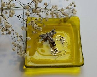 Yellow Glass Ring Dish - Spoon Rest - Trinket Dish