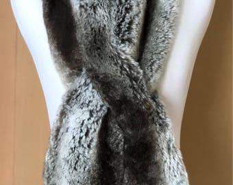 Tissavel Faux Fur Pull-Thru Scarf in Dark Chinchilla