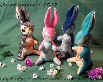 Custom made standing teen-size Bunny, Rabbit, Jackrabbit, Angel Bunny, Jackalope, Wolpertinger, Bunnicorn, or Ali-Bunnicorn, plush doll