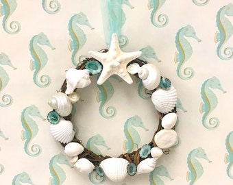 "Seashell Wreath with Starfish - 7"" Beach Decor/Coastal Wreath/seashell wreath/sea shell wreath/starfish/star fish"