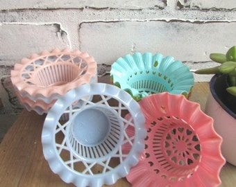 Vintage Plastic Nut Cups Pastel Colors Kitschy Bridal or Baby Shower