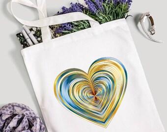 Blue and gold heart tote bag, tote bag, canvas tote bag, market bag, gym bag, shopping bag, gift for her