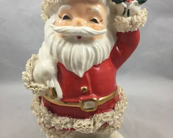 Vintage Midcentury Santa Spaghetti Trim Christmas Planter Made in Japan