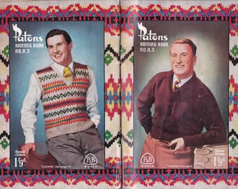 Patons R3 Mens 1940s Knitting Patterns Book Fair isle sweaters vests cardigans