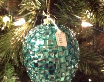 Christmas Ornament Glittery Jeweled Aqua Ball