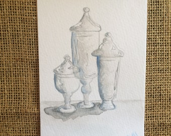 Original - Watercolor painting -  Apothocary Jars