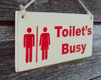 Occupied Vacant Double Sided Bathroom Door Sign Toilet