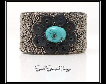 Bead Embroidery Cuff with Turquoise Stone