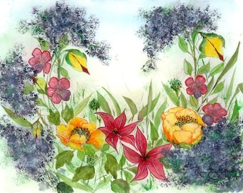 Wreath of Flowers - Greeting Cards and Framed Wall Art of Many Floral Designs