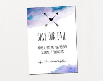 Printable Save The Date - Dreamcatcher / Colourful Watercolour Boho DIY Wedding Stationery