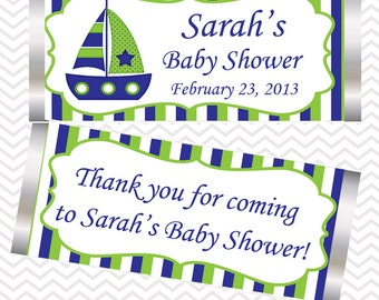 Nautical Blue Green  - Personalized Candy Bar Wrapper