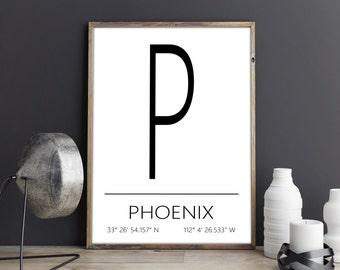 Phoenix Poster, Phoenix Print, Phoenix Art, Phoenix Coordinates, Phoenix, Wall Art, Wall Decor, Printable Art, Download