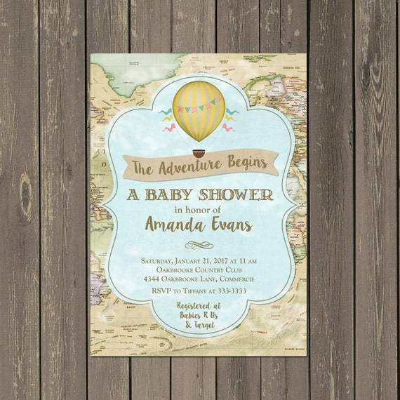 World adventure baby shower invitation hot air balloon shower world adventure baby shower invitation hot air balloon shower invitation adventure begins map invite gender neutral diy or printed filmwisefo Image collections
