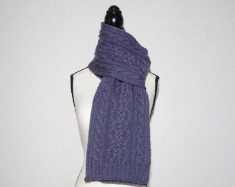 Women's hand knit scarf, purple scarf, wool scarf, purple cable scarf, winter scarf, warm scarf, gift for her