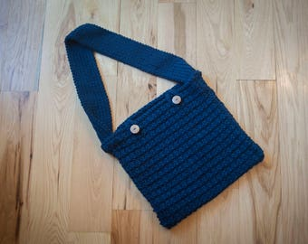Hand knit navy blue bag/purse with buttons