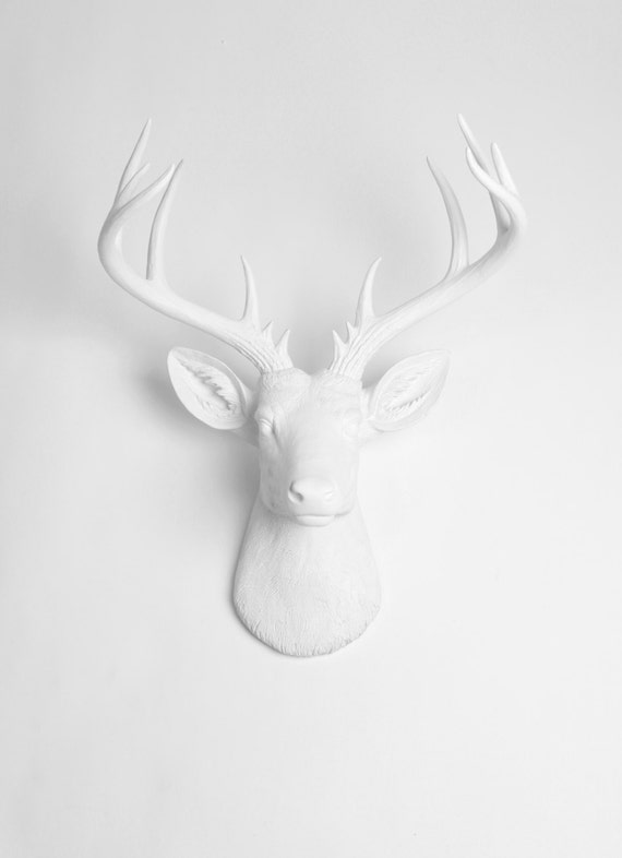 X Large Deer Head Wall Mount The Templeton White Faux Deer