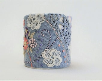 Boho Fabric Cuff made from Repurposed Vintage Linen and Laces