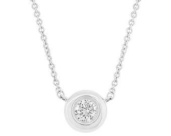 0.11CT 14K White Gold Bezel Natural Round Diamond Solitaire Pendant Necklace
