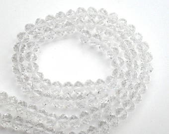 163 - Set of 10 beads 8 * 6 mm glass faceted clear Crystal