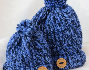 Small Hand Knit Toque / Blue and Black Hand Knit Toque / Winter Hat / Warm Hat / Chunky Knit Toque / Toddler-Child & Doll Hats - SDHat101