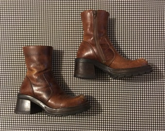 1990's, stacked wooden, chunk heel, platform boots, in brown leather, by Steve Madden, Women's size 7B