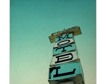 photography, retro photography, mid century modern, 60s, mcm, mid century decor, vintage sign, roadside - Mid-century Motel, 8x8 photograph