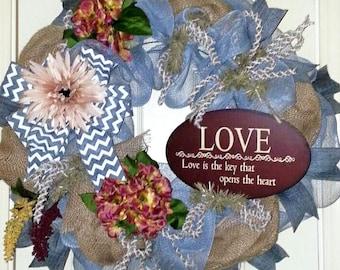 Anytime wreath, Spring wreath for door, Rustic Door wreath, Wreath with Hydrangeas, Gray wreath, mesh wreath for door, Large Spring wreath
