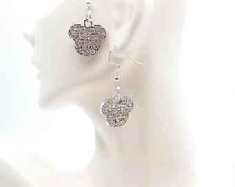 Disney Mickey Inspired Full Rhinestone Hanging Charm Earrings