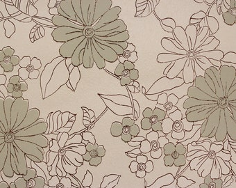 1960s Vintage Wallpaper Gray and White Flowers on Silver/Gray by the Yard
