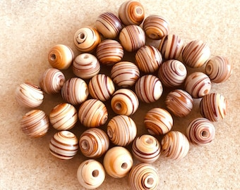 94 pieces 6mm and 8mm Brown Tan Striped Glass Round Beads