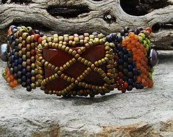 Jewelry - Free Form Peyote Stitch Beaded Bracelet  - Awake - Bead Weaving - Carnelian  B0H0