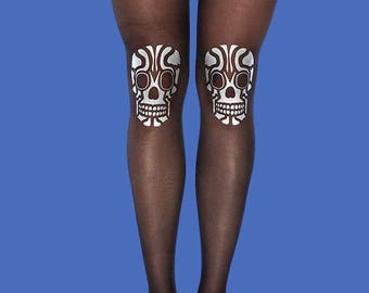 Skull tights with silver matt print available in S-M, L-XL
