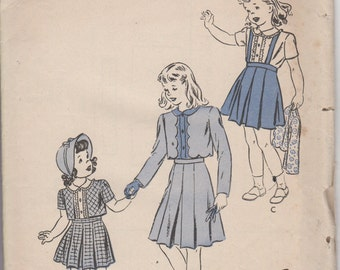 Sz 8-1940's Girl's Bolero Suit and Blouse Butterick 3724 Breast 26""