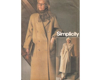 1980s Wrap or Double Breasted Coat Pattern Bust 34 Loose Fitting Simplicity 6578 UNCUT Vintage Sewing Pattern