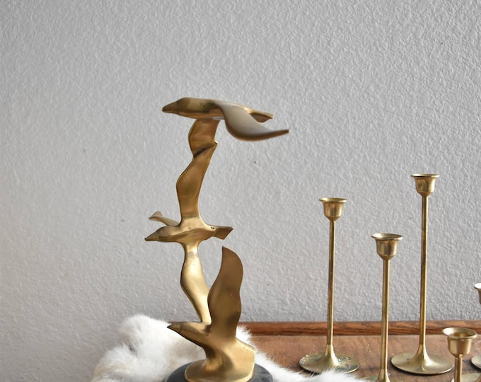 heavy solid brass seagull bird with marble base / figurine