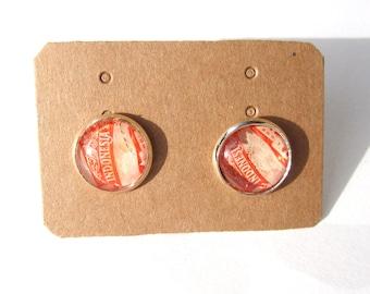 Postage stamp ear studs