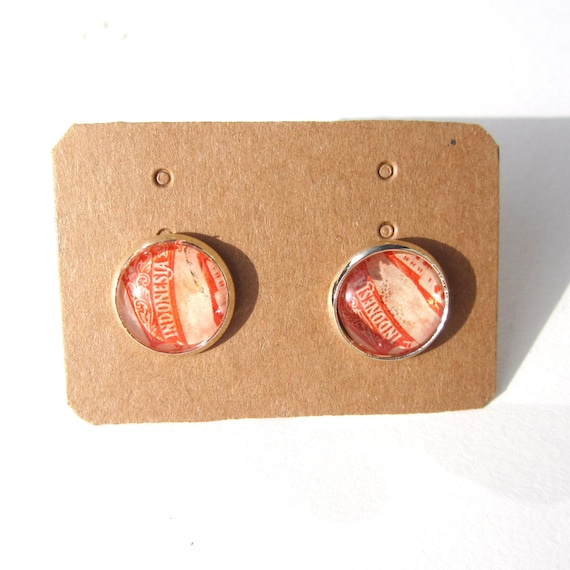 Postage stamp ear studs