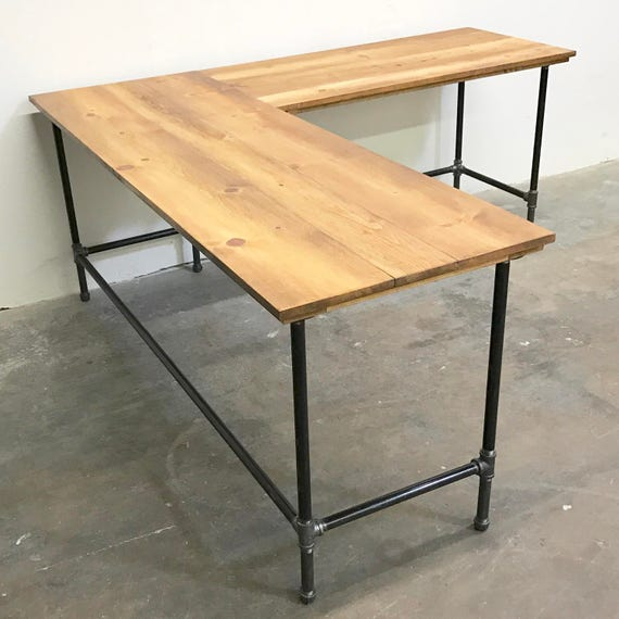 Etsy wood and pipe corner desk