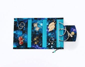 Space jewellery organizer Small jewelry holder Pocket bag Pocket holder Jewelry bag Jewelry roll Jewelry storage Galaxy Night sky